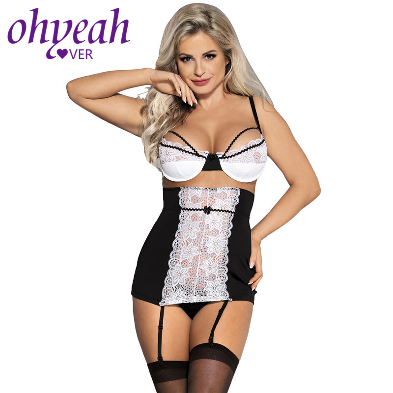 Ohyeahlover Lace Babydoll <font><b>Sexy</b></font> Garter <font><b>Lingerie</b></font> Plus Size Women Open Bra <font><b>Baby</b></font> <font><b>Doll</b></font> Mujer Sleeveless Mesh Bodycon 3XL 5XL RM80427 image