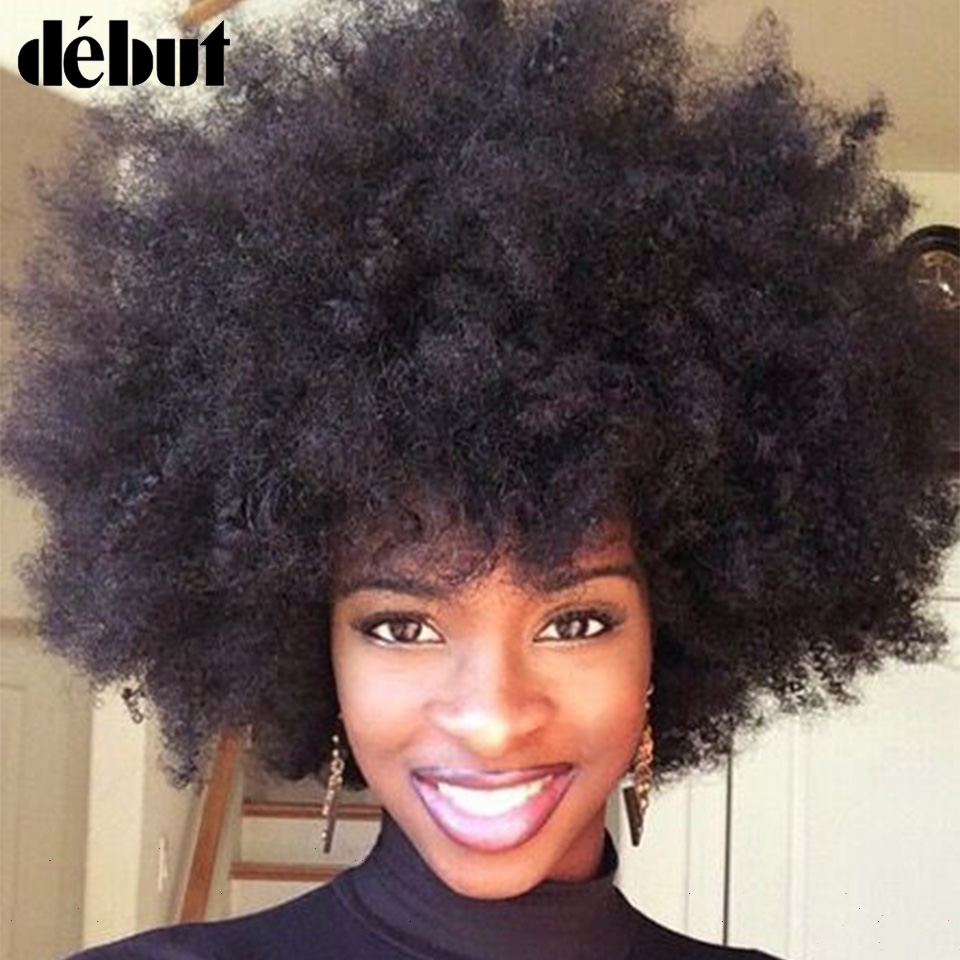 Debut Short Real Human Hair Wigs Afro Kinky Curly Wig 100% Remy Brazilian Hair Wigs For Mom Hair Cheap Wigs Free Shipping