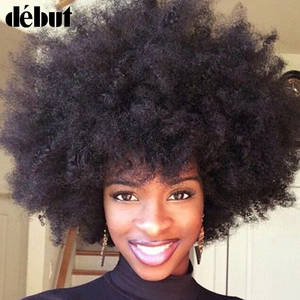 Debut Curly Wig Short Human-Hair Kinky Real Remy Afro for Cheap 100-%
