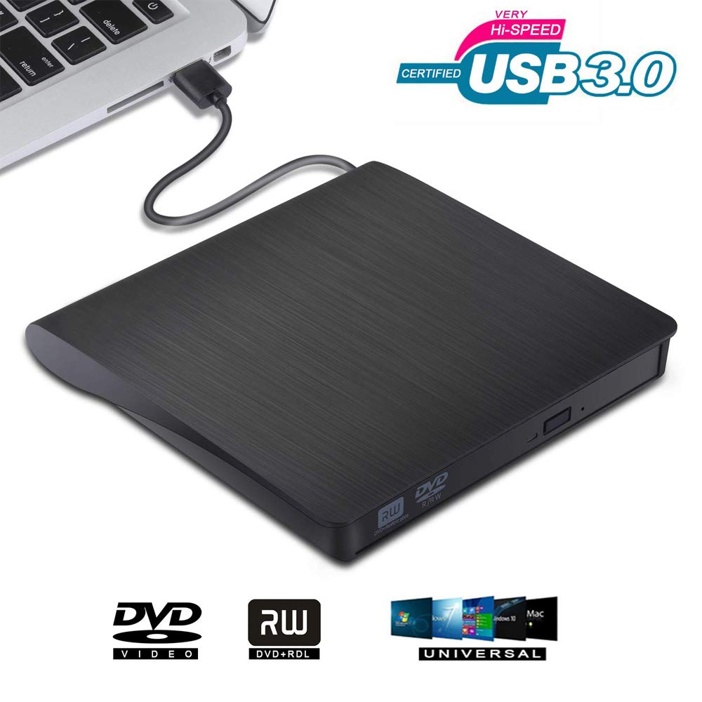 External DVD Drive USB 3.0 Portable CD DVD RW Drive Writer Burner Optical Player Compatible For Windows 10 Laptop Desktop iMac image