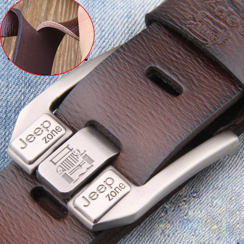 Designer Belts Jeans Buckle Cowskin-Strap Metal-Pin Vintage Male Genuine-Leather Real
