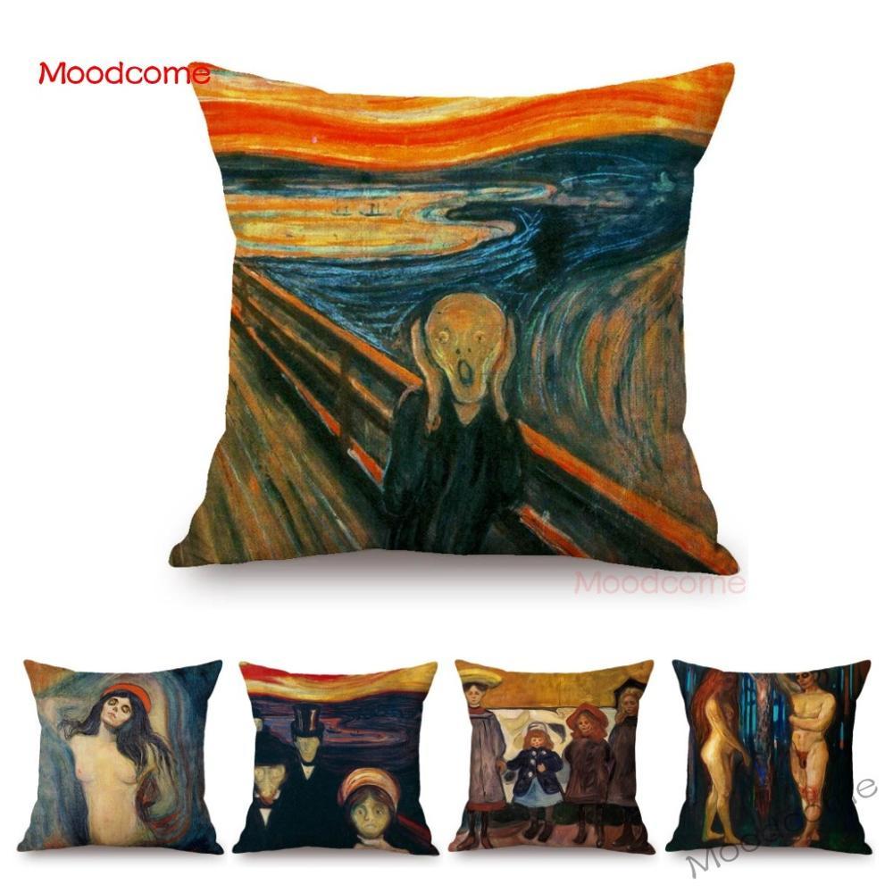Edvard Munch Norwegian Painter The Scream World Famous Oil Painting Abstract Gallry Art Sofa Pillow Case Linen Car Cushion Cover