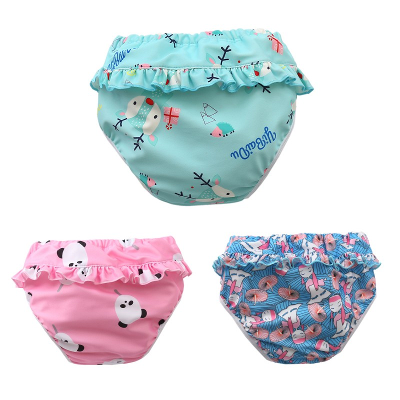 Infant Children Leak proof Swimming Nappies Newborn Baby High Waist Swimming Trunks Baby Boys Girls Cartoon Printed Swim Diapers 1