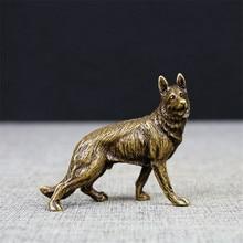 Vintage Bronze Hound Dog Statue Ornament Pure Brass Wolfhound Animal Miniature Figurine Living Room Desk Decoration
