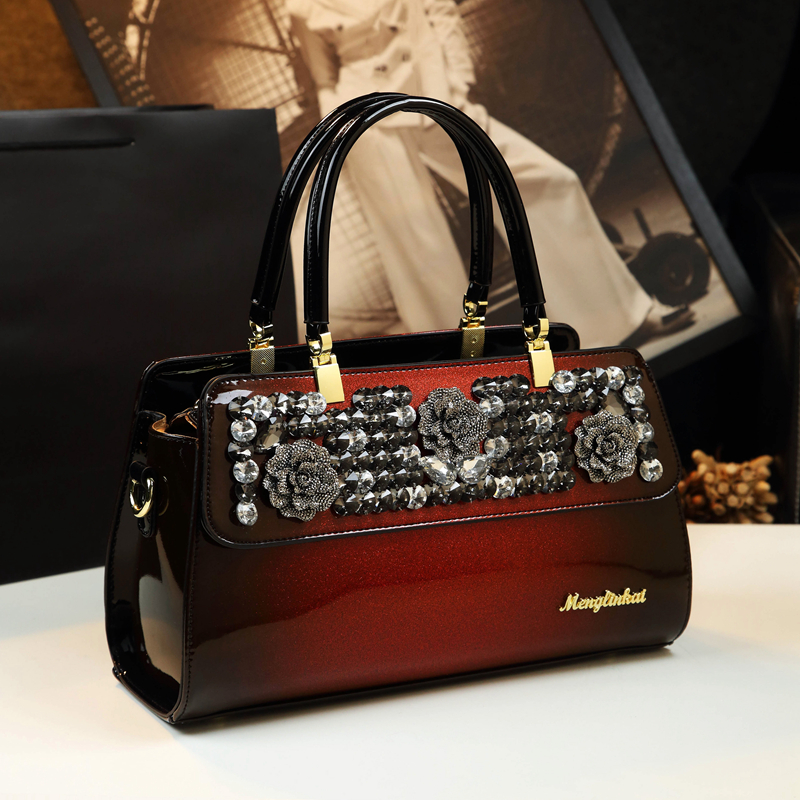 Luxury Fashion Diamond Women's Handbag Genuine Leather Female Shoulder Messenger Bag New Rhinestone Ladies Party Bags
