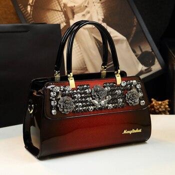 Raaqy Diamond Rhinestone Genuine Leather Satchel Bag