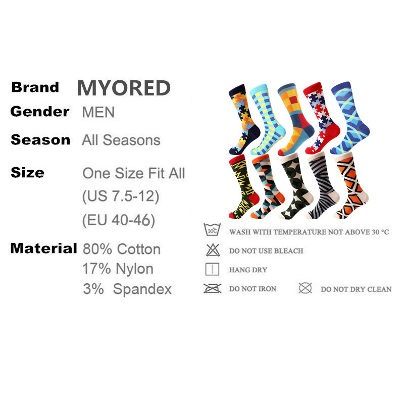 Image 5 - MYORED drop shipping colorful fashion mens socks combed cotton funny crew socks for men Calcetines de hombre-in Men's Socks from Underwear & Sleepwears