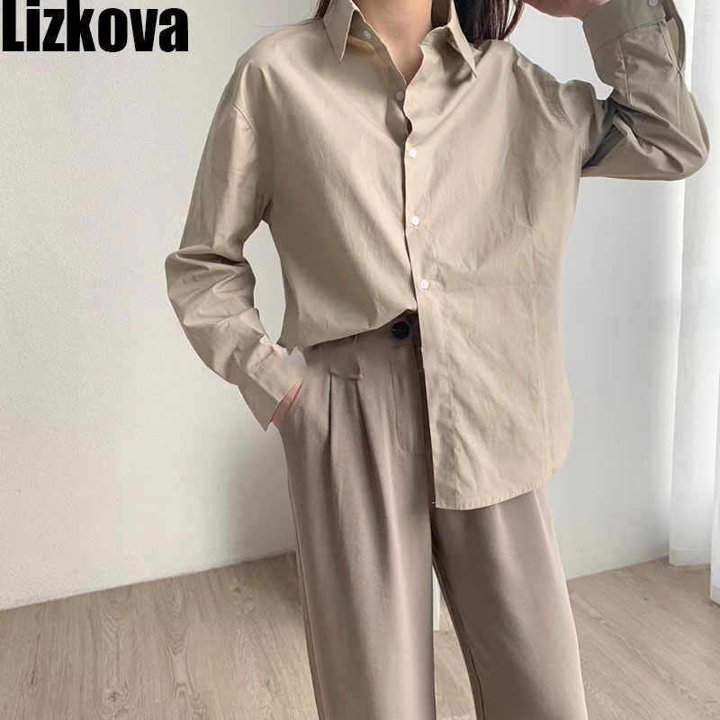 2020 Khaki Blouse Women Cotton Japanese Shirt Official Lady Formal Tops Long Sleeve Concise Style KT8210
