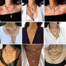 Beliebte retro temperament schmuck mit einfache kette multi-schicht geometrische perle halskette multi-element vielseitig halskette