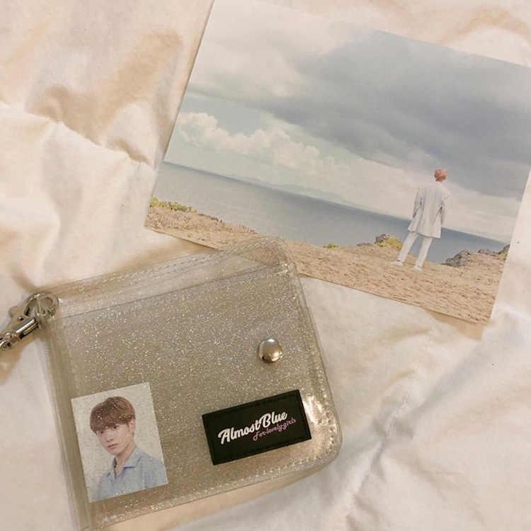 Hot Transparan ID Pemegang Kartu PVC Lipat Pendek Dompet Fashion Wanita Gadis Glitter Bisnis Kartu Case Dompet dengan Tali Sum