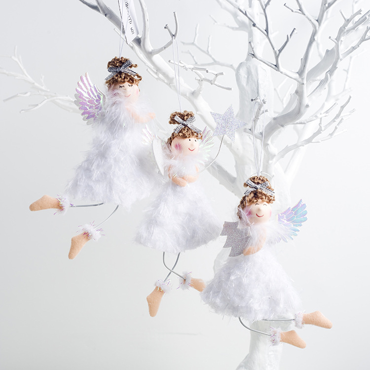 Cute Cartoon Angel Plush Doll Christmas Pendant Creative Christmas Tree Closet Hanging Ornaments Window Decoration Xmas Gift Toy