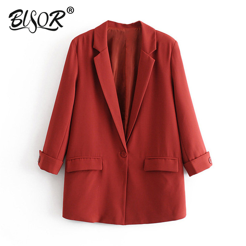 Women Elegant Red Suit Blazer Notched Collar Three Quarter Sleeve Pockets Solid Jacket Female Casual Outwear Chic Coats