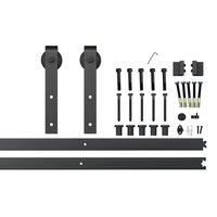 6.6ft Black Steel Side Mount Sliding Barn Door Hardware Track Set 2x3.3ft Rails