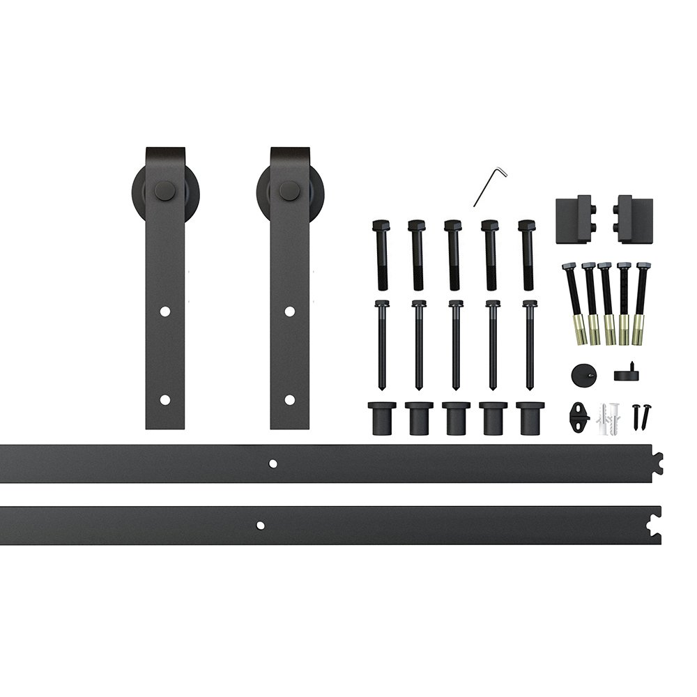 Jeu de Rails 2x3. 3ft de rail de matériel de porte coulissante de grange de bâti latéral en acier noir de 6.6ft