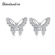 Блестящие циркониевые серьги гвоздики shineland с бабочками