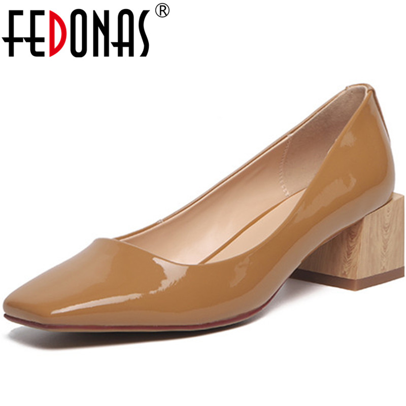 FEDONAS New Spring Summer Square Heels Pumps Women Wedding Office Square Toe Pumps Genuine Leather Concise Vintage Shoes Woman