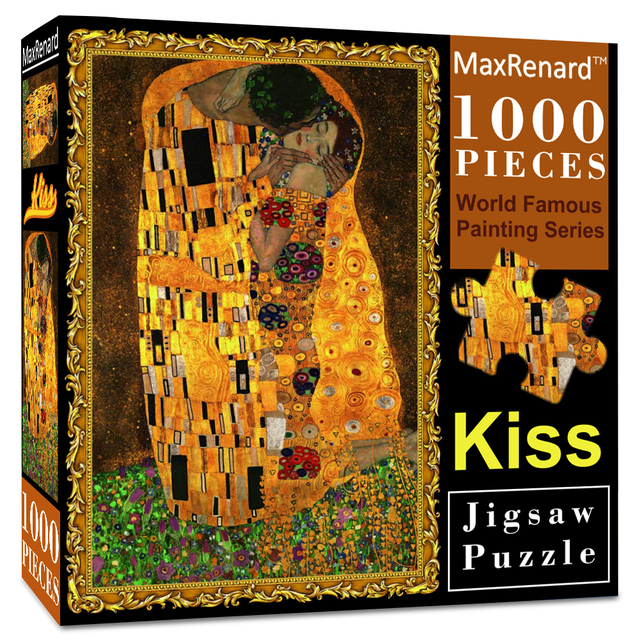 MaxRenard Jigsaw Puzzles 1000 Pieces 50*70cm The Kiss Wooden Assembling Painting World Masterpiece Puzzles Toys for Adults Games 1