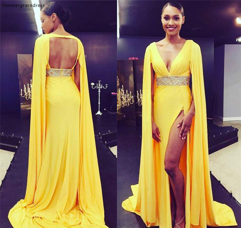 2019 Yellow High Split Deep V Neck Prom Dress Open Back Formal Holiday Wear Party Gown Custom Made Plus Size