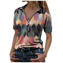Camiseta de manga corta con cuello en V y cremallera para mujer, blusas holgadas estampadas, Top informal para mujer