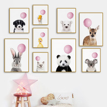 Nordic Posters And Prints Pink Balloon Panda Bear Rabbit Koala Wall Art Canvas Painting Animal Wall Pictures For Kids Room Decor balloon whale panda wall art canvas painting nordic posters and prints wall pictures for kids bedroom baby boy girl room decor