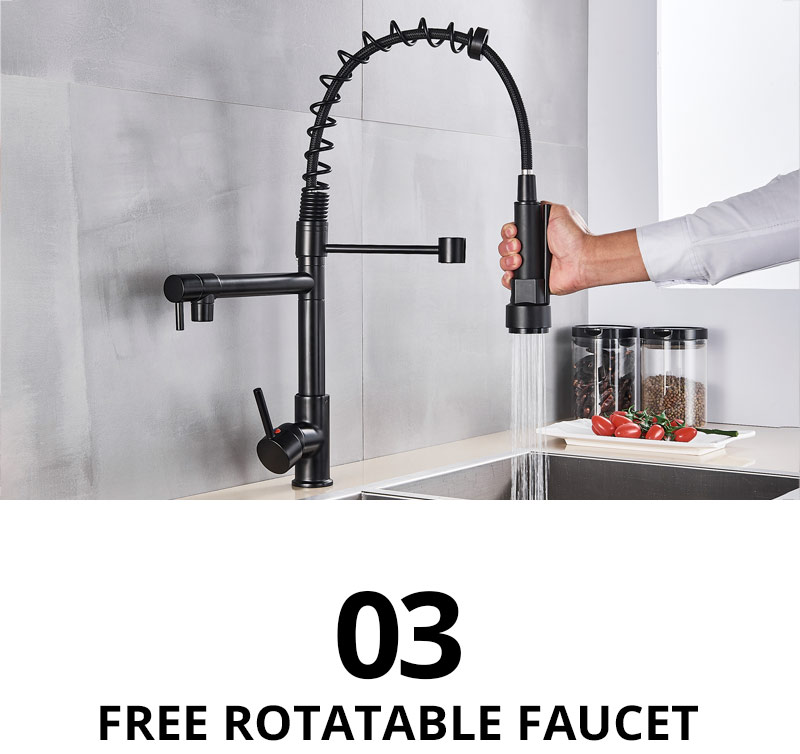 H9db3efd0a1134c92b80896147e332ec6a Uythner Black Brass Kitchen Faucet Vessel Sink Mixer Tap Spring Dual Swivel Spouts Hot and Cold Water Mixer Tap Bathroom Faucets