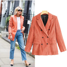 new Vintage corduroy suit Coat double-breasted suit jacket women blazer dress feminino Office lady Casual blazers and jackets