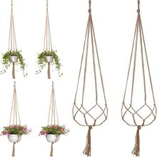 2PCS 1.05m Macrame Jute Flower Hanger Plant Hanging Basket For Ceiling Deck Balcony Round And Square Pots For Wall Garden