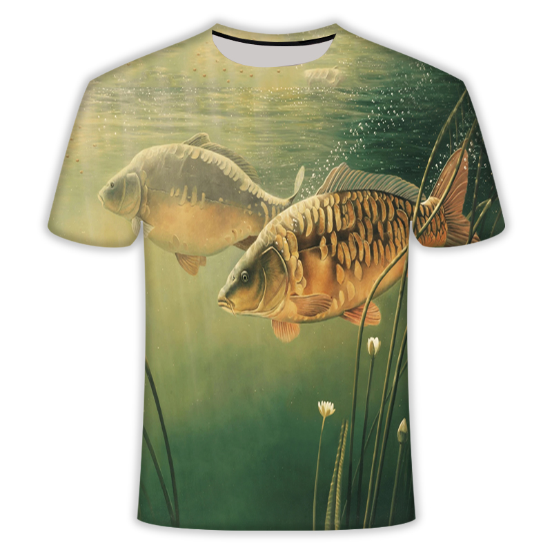 2019  The New Men Leisure 3d Printing T Shirt,Asia T-shirt Carp Design Short Sleeve 3D T-shirt   Fish T-shirt