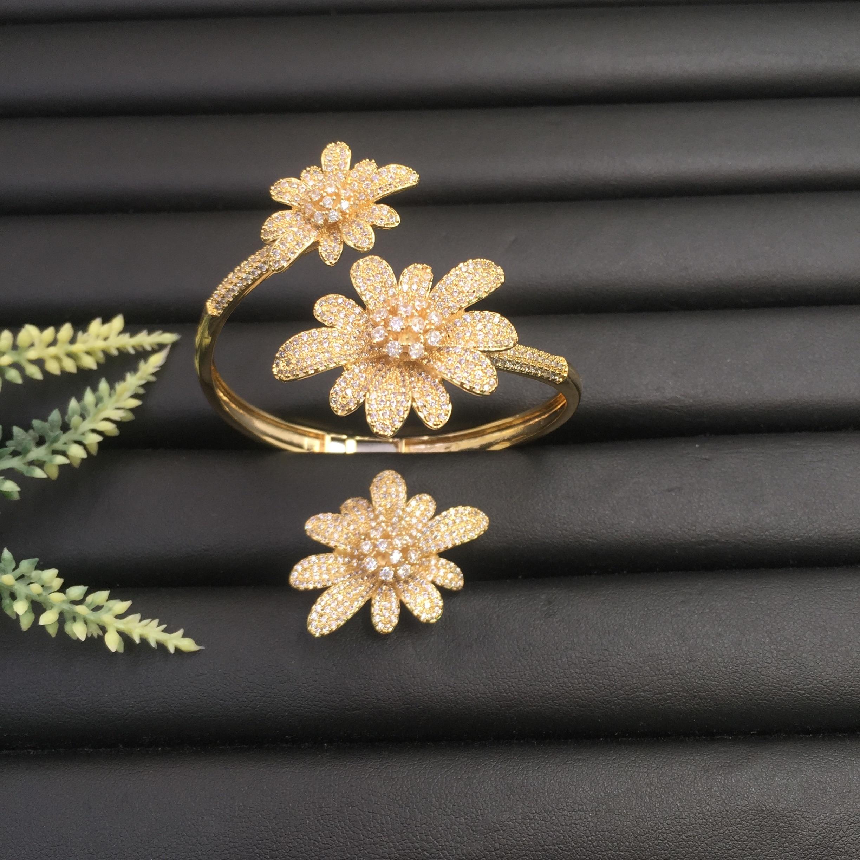 Lanyika Mode Bijoux À La Mode Magnifique Floraison Chrysanthème Plaqué Fête Romantique Bracelet Avec Anneau Banquet Quotidien Meilleur Cadeau