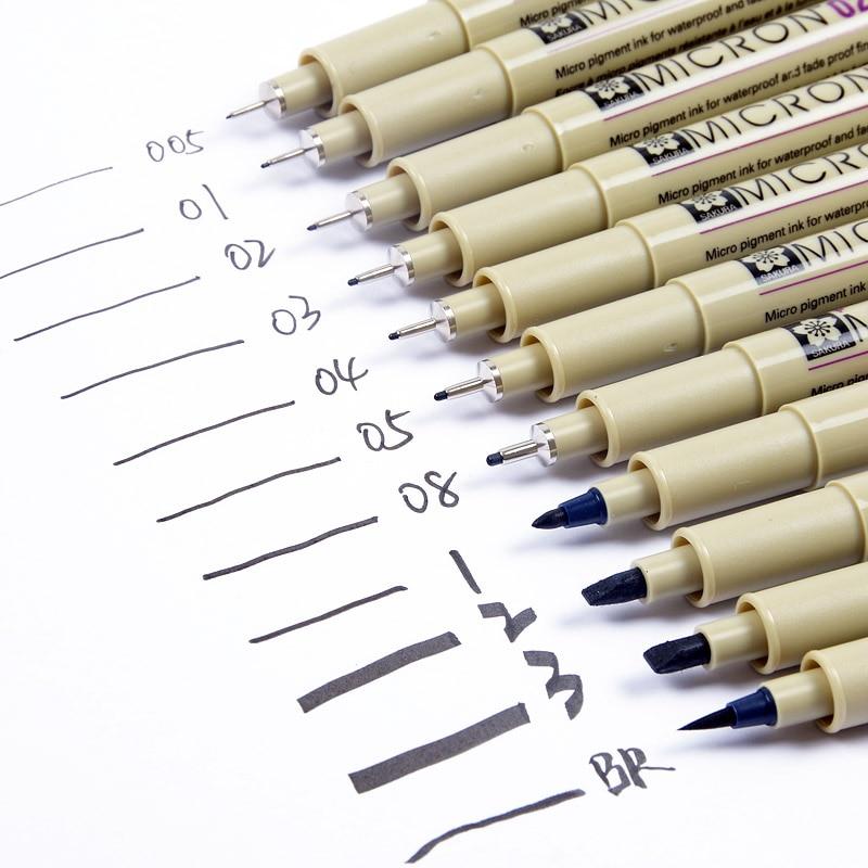 Sakura Pigma Micron Needle Pen Waterproof Fine Lines Black Sketch Marker Pen for Design Manga Brush Drawing Manga Art Supplies