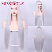 Синтетический высокотемпературный парик MISS ROLA из наполнителя, длинные прямые волосы, длина талии, серая бананка, парик на сетке спереди