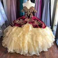 New Burgundy and Champagne Velvet Quinceanera Dresses Off the Shoulder Puffy Ruffles Sweet 15 Dress Embroidery Long Prom Gowns