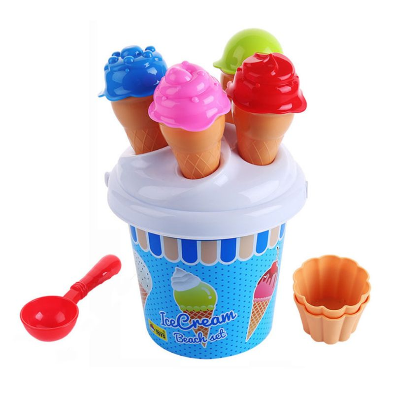 Kids Beach Sand Toys Kids Ice Cream Sand Models Bucket Set Sandpit Garden Summer Outdoor