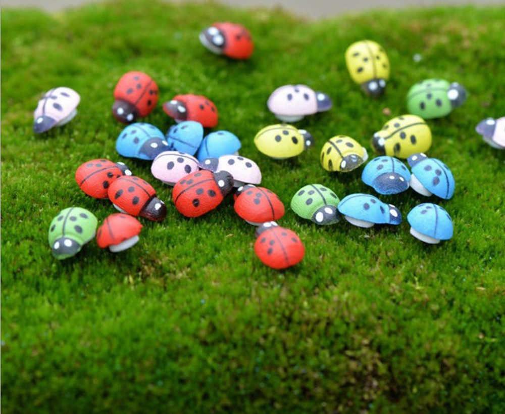 10/50/100 Pcs Mini Cabochon Ladybug Fairy Garden Miniaturesสวนตกแต่งภูมิทัศน์Micro Bonsai Figurineเรซิ่น