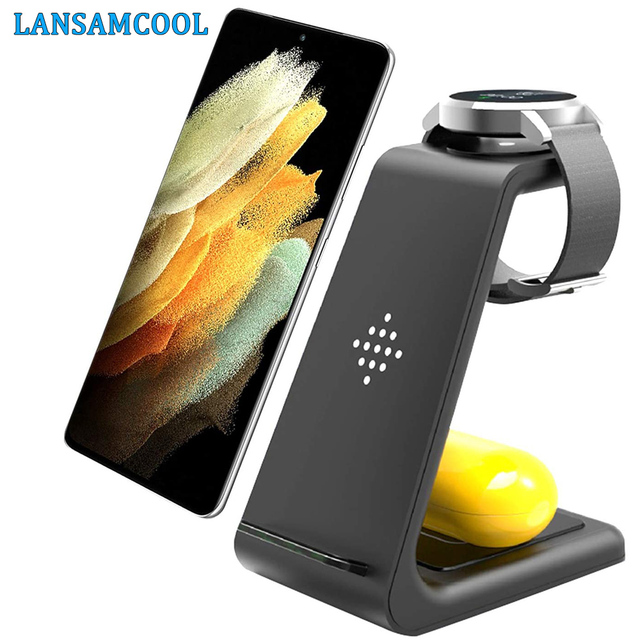 15W Wireless Charger QI 3 in 1 Wireless Charging Station For Samsung Galaxy S20 S10 S9 Buds+ Watch Active2/1 iPhone 12/11/X/8