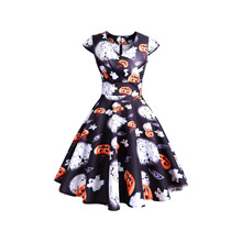 2019 Women Dress Halloween Vintage Short Sleeve Printed Evening Party Dresses 2XL Costumes For Fashion