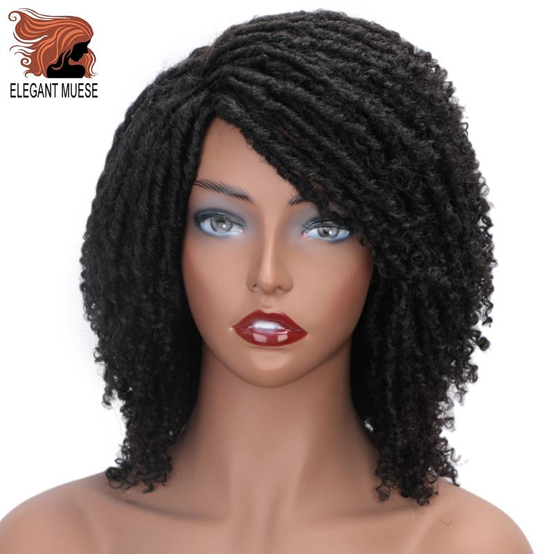 ELEGANT MUSES Short Synthetic Wigs For Women 6 Inch Long Soft Faux Locs Hair Wig  Ombre Black Bug Crochet Braids Wigs
