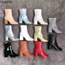 Short Boots Shoes Ninja Chunky High-Heels Split-Toe Round Genuine-Cow-Leather Women Ankle