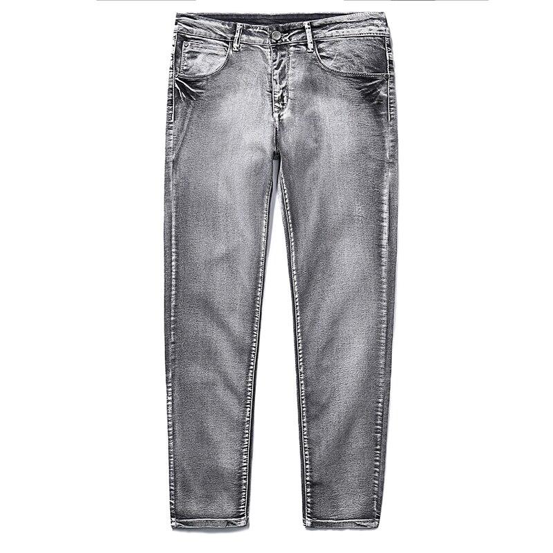 2020 New Men's Brand Jeans Slim Straight Elastic  Zipper Denim Pants Male Jeans  Big Size 40 42 44 46