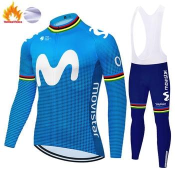 2020 equipe conjunto camisa de ciclismo da bicicleta movistar topos wear bib calças respirável uniforme para hombre 1