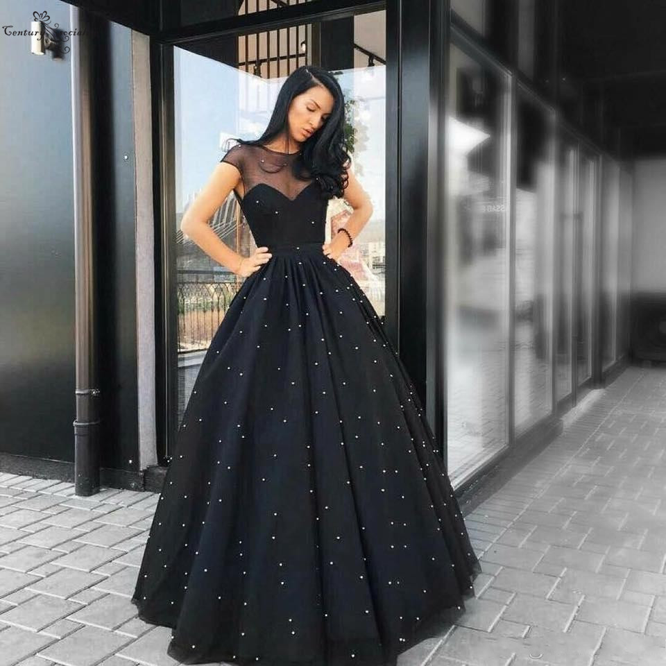 Ball Gown Black   Evening     Dress   2019 Pearls Sheer Scoop Lace Up Back Cheap Long Formal Party Gowns Prom   Dresses   Robe De Soiree