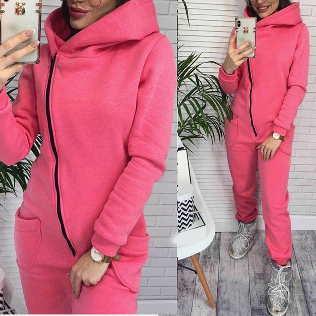 Fleece Long Sleeve Women Hooded Jumpsuit Rompers solid Zipper Pockets Warm Romper Woman 2020 New winter Fashion Casual Clothes
