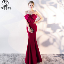 Skyyue Evening Dress Boat Neck Sleeveless Mermaid Long Dresses Bow Court Train Formal Gown C140-DS2