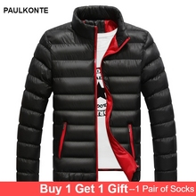 PAULKONTE Autumn Winter Thick Mens Down Jacket Coat High Quality Collar Solid Color Large Size Casual Wild Men Clothes Coats