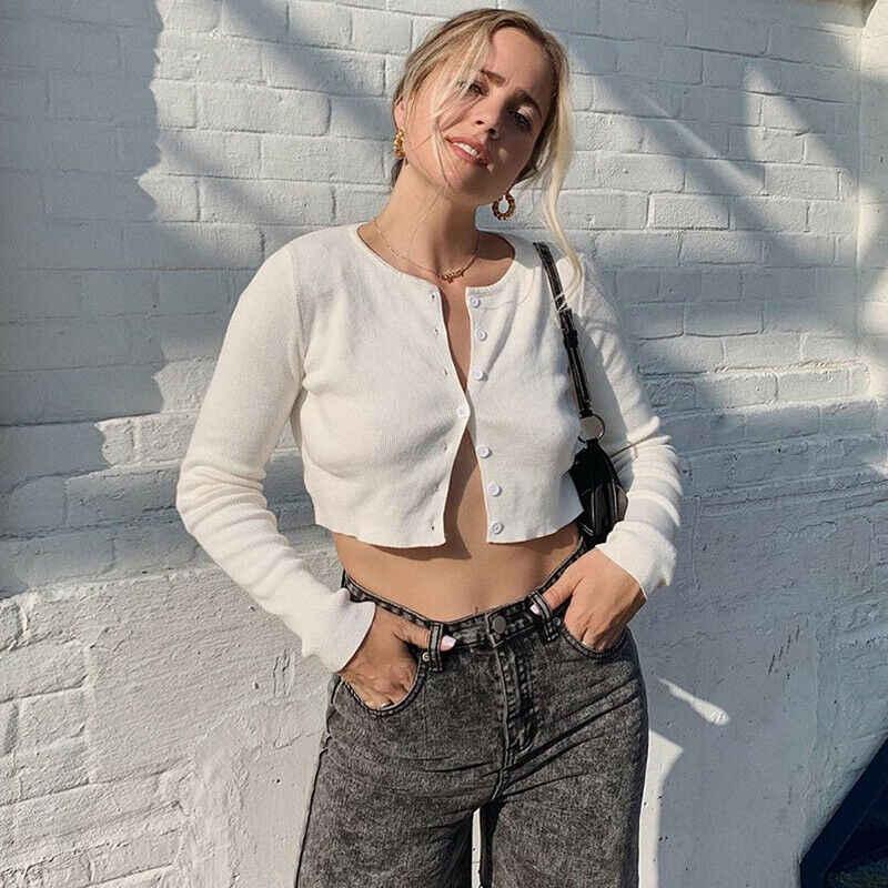 Meihuida 여름 가을 여성 김현 스타일 섹시한 긴 소매 오픈 프론트 카디건 버튼 뜨개질 자르기 가기 짧은 스웨터
