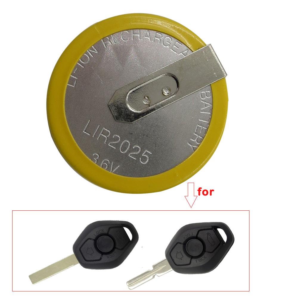 1/Pcs Yellow Color Rechargeable Remote Car Key Shell LIR 2025 3.6V Battery for BMW 3 5 6 7 Series X3 X5 Z3 Z4 Z8 HU92 E46 E39 3B image