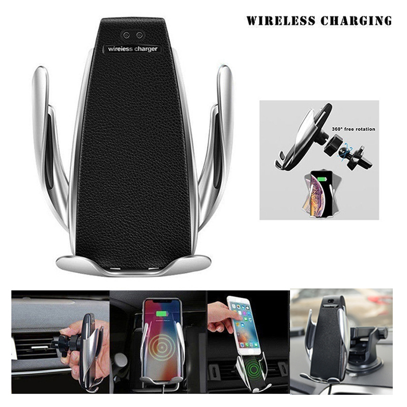 10W Wireless Car Charger Automatic Clamping Fast Charging Phone Holder Mount in Car for iPhone xr Huawei Samsung Smart Phone
