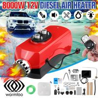 8KW Metal Cover Car Heater Diesel Air Heater 12V Winter Defrost Heater +Fuel Pump LCD key Switch 2 Air Outlet For Truck Bus Boat