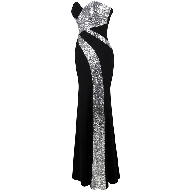 Long Prom Dress Angel-fashions Women's Strapless Criss-Cross Classic Mermaid Party Gown Black White 331 3