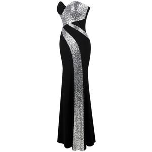 Image 3 - 긴 댄스 파티 드레스 천사 패션 여성 strapless criss cross 클래식 인어 파티 드레스 블랙 화이트 331